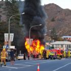 The pie cart goes up in flames.