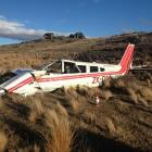 The  Piper  Cherokee after it crashed near Poolburn. Photo by NZ Police.