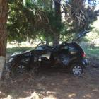 The rental car which crashed off the Glenorchy-Paradise road  yesterday afternoon. Photo by the...