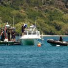 The skydiving plane that crashed is due to be lifted from Lake Taupo today. Photo NZ Herald.
