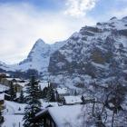 The sleepy village of Murren awakens under the immense peaks of Jungfrau, Monch and the Eiger....