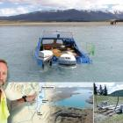 The swamped fishing boat (top) sits in Lake Tekapo yesterday on a sand bank at the Cass River...