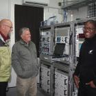 The telemetry technicians working at the Awarua tracking station, Herman Steenkamp (left) and...