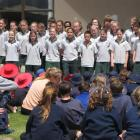 The Terrace Primary School pupils entertain a crowd  in Pioneer Park, Alexandra, yesterday. Photo...