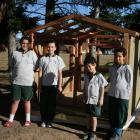 The Terrace School pupils (left) Anahera Cannell (12), Manaru Lewis (11), Levi (6) and Jayden...