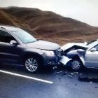 The two cars badly damaged in the Crown Range crash. Photo supplied.
