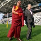 The Venerable Geshe Jampa Tenzin, of Dunedin, and Neil Cameron, of Auckland, trustee of the Dalai...