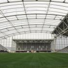 The view from the stadium's western end  with the south stand to the right and the north  to the...