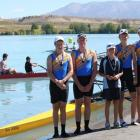 The Wakatipu  men's novice four after receiving their gold medal (from left) Logan Boyd, Reid...