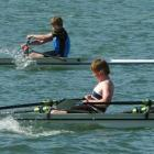 The winning King's High School crew of (background, from left) Tom Grave (14) and Ben Duyvestyne ...