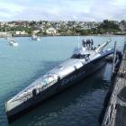 The world record-breaking boat 'Earthrace' in Oamaru Harbour yesterday. Photo by Sally Rae.