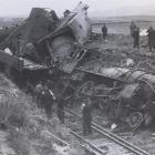 The wreckage of the Central Otago express after it failed to take a curve in a cutting near  Hyde...