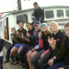 The year 10 South Otago High School Southern Snatchers on board 'Spirit of New Zealand' are (from...