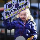 Third-generation playcentre child Laura Allison (5) shows her support for the early childhood...
