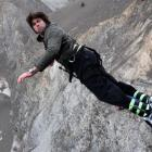Tom Palmer, the England lock, dives off at the 134m high Nevis Bungy.  (Photo by David Rogers...