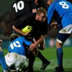 Tom Willis runs the ball up for the All Blacks against Italy during their test at Waikato Stadium...