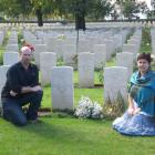 Tony and Jane Campbell beside the graves of their great-uncles, Gavin Campbell and Bill Goodall,...