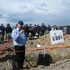 Tony Davoren, general manager of HydroServices, explains soil mapping technology at the field day...