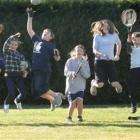 Totara School's North Otago sporting representatives (from left) Douglas Milne (8), Jordan Isteed...