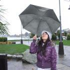 Tourist Sienna Chin, of Taiwan, shelters under her umbrella at Lake Wanaka. Photo by Matthew...