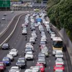 Traffic builds up following the incident on the Harbour Bridge in Auckland on Saturday. Photo: NZ...