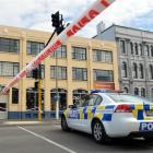 Traffic is diverted from State Highway 1 in central Dunedin following a bomb scare at the Dunedin...
