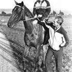 Trainer Frank Ritchie, jockey Gary Stewart and the great Bonecrusher check out Wingatui. Photo...