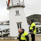 Transport Minister Steven Joyce (front) and Lyttelton Port Co chief executive Peter Davie check...