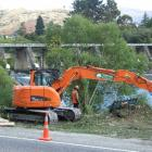 Tree removal contractors clear the southern approach to the new Kawarau Falls bridge near...