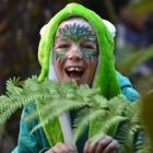 Trinity Redmond (11), of Dunedin, is surrounded by native trees. Photos by Peter McIntosh.