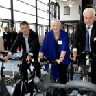 Trying equipment at the opening of the Dunedin Centre of Excellence at Forsyth Barr Stadium...