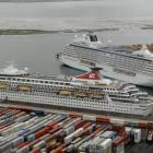 Two cruise ships berthed at Port Chalmers on Saturday are <i>Balmoral</i> (foreground) and <i...