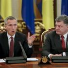 Ukraine President Petro Poroshenko (right) and Nato Secretary-general Jens Stoltenberg attend the...