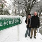 Undaunted...Arrowtown couple Ruth and Don Manley celebrated the early morning snow fall by going...