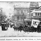 Unemployed march through the Exchange in March 1932.