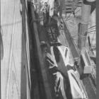 Union Jack-draped bodies of soldiers who died at Anzac Cove, Gallipoli, are loaded on to a...
