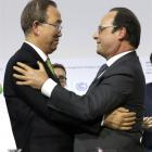 United Nations Secretary-general Ban Ki-moon (left) and French President Francois Hollande...