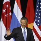 United States President Barack Obama arrives at Young Southeast Asian Leadership Initiative, at...