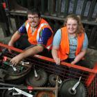 University of Otago Anthropology Society members Nick Sutton and Jenny Milne catalogue parts of...