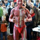University of Otago masters anatomy student Zin Aung (25) gives the thumbs up after being body...