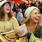 University of Otago students Julia Chrisp (left) and Kate Beecroft spread a bit of cheer at The...