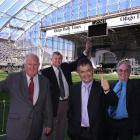 Unveiling the new '<i>Otago Daily Times</i>' Stand at Forsyth Barr Stadium yesterday are (from...