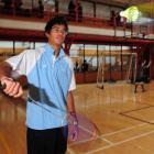 Up and coming badminton player Kamil Patel practises at the Otago Boys High School gym yesterday....