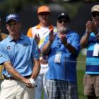 US golfer Jim Furyk watches his chip shot on the green on the eighth hole during his second round...