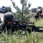 US marines participate in a US-South Korea joint landing operation drill in Pohang, about 370km...