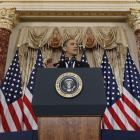 US President Barack Obama delivers a policy address on events in the Middle East at the State...