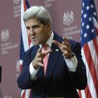 US Secretary of State John Kerry speaks during a news conference with Britain's Foreign Secretary...