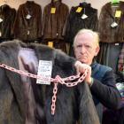 Butterflies - the Hospice Op-shop volunteer Gerry Elliman has been forced to chain down fur coats...