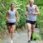 Val Muskett and John Bayne train at Ross Creek this week. Photo by Gregor Richardson.