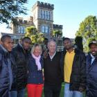 Vanuatuan orchard workers Menas Kansen, George Pel, Philip Habe and Johnson Baekon with Cromwell...